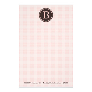Light Pink Plaid Monogram Stationary Stationery