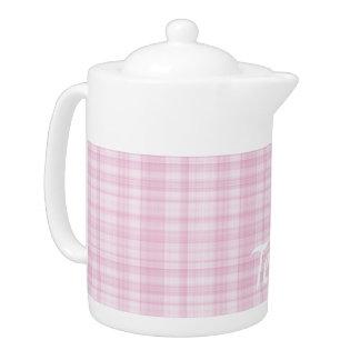 Light Pink Plaid Teapot
