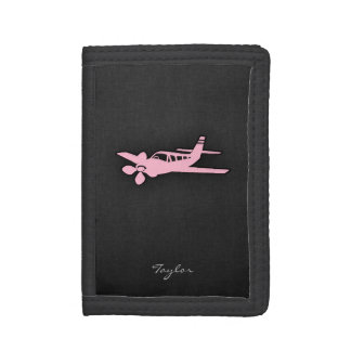 Light Pink Plane Trifold Wallets