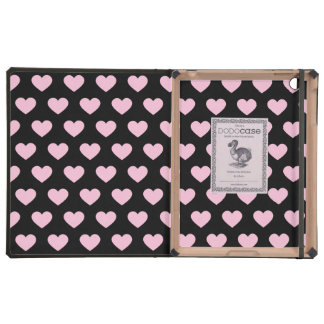Light Pink Polka Dot Hearts (Black Background)