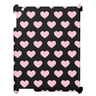 Light Pink Polka Dot Hearts (Black Background) Cover For The iPad 2 3 4