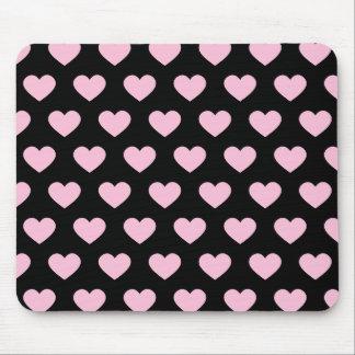 Light Pink Polka Dot Hearts (Black Background) Mouse Pad