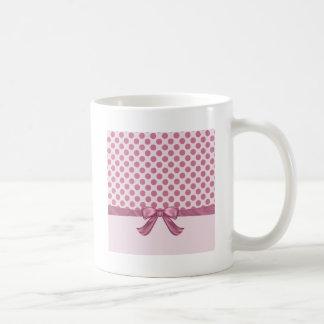 Light Pink Polka Dot Ribbon Bow Coffee Mug