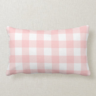 Light Pink Preppy Buffalo Check Plaid Lumbar Pillow