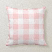 Light Pink Preppy Buffalo Check Plaid Throw Pillow