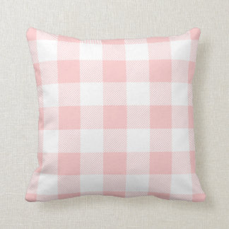 Light Pink Preppy Buffalo Check Plaid Throw Pillow