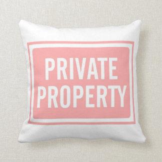 Light Pink Private Property Sign Mug Throw Pillow