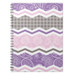 Light Pink, Purple, & Taupe Country Patterns Spiral Note Book