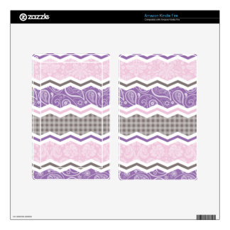 Light Pink Purple Taupe Country Patterns Skin For Kindle Fire