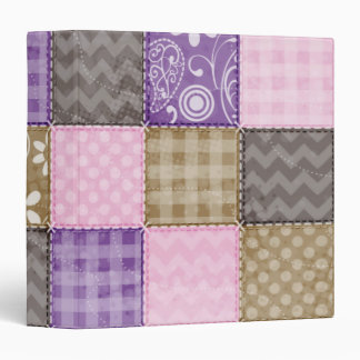 Light Pink, Purple, & Taupe Quilted Look 3 Ring Binder