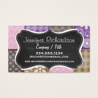Light Pink, Purple, & Taupe Quilted Look Business Card
