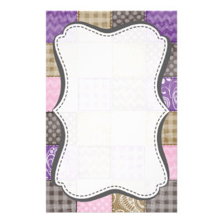 Light Pink, Purple, & Taupe Quilted Look Stationery
