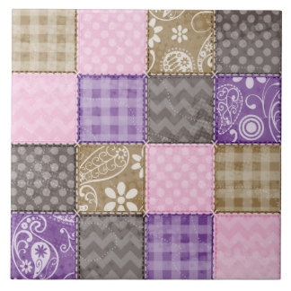 Light Pink, Purple, & Taupe Quilted Look Tile