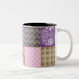 Light Pink, Purple, & Taupe Quilted Look Two-Tone Coffee Mug