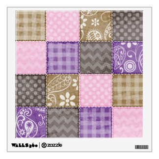 Light Pink, Purple, & Taupe Quilted Look Wall Sticker