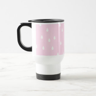 Light pink rain pattern. White and pink. Travel Mug