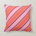 [ Thumbnail: Light Pink, Red, and Purple Lines Pattern Pillow ]
