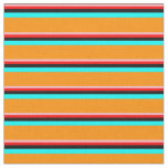 [ Thumbnail: Light Pink, Red, Black, Cyan & Dark Orange Lines Fabric ]