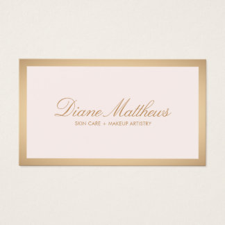 Light Pink , Rose Gold Border Skin Care Spa Business Card