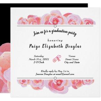 Light Pink Rose Graduation Invitations