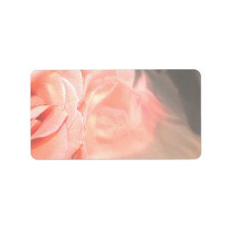 Light pink rose reflection in silver custom address labels