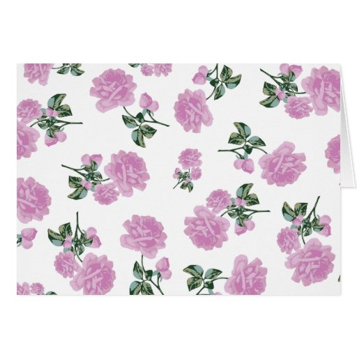 Light pink roses flower pattern on white greeting card
