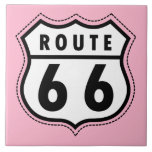 Light Pink Route 66 Road Sign Ceramic Tile