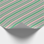 [ Thumbnail: Light Pink, Sea Green, and Dark Grey Lines Wrapping Paper ]