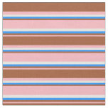 [ Thumbnail: Light Pink, Sienna, Blue & White Stripes Fabric ]