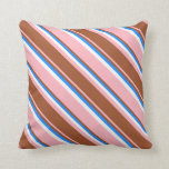[ Thumbnail: Light Pink, Sienna, Blue & White Stripes Pillow ]