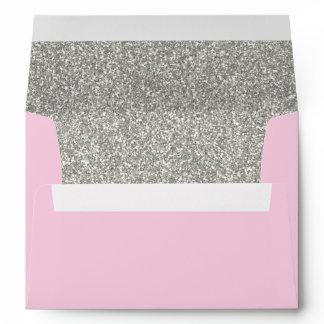 Light Pink & Silver Envelope | A7 Size | 5x7 Card
