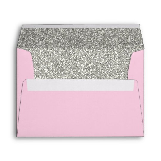 light pink silver envelope a7 size 5x7 card zazzle com