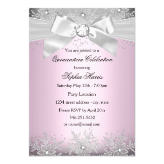 Light Pink Silver Jewel Bow Snowflake Quinceanera Card