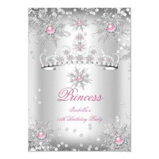 Light Pink Silver Winter Wonderland party Card