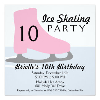 Light Pink Skate Date Ice Skating Birthday Party Card