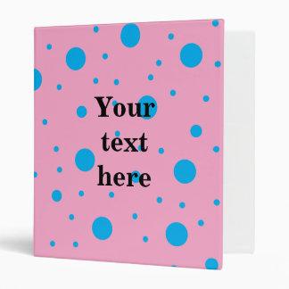 Light pink sky blue tiny and big polka dots binder