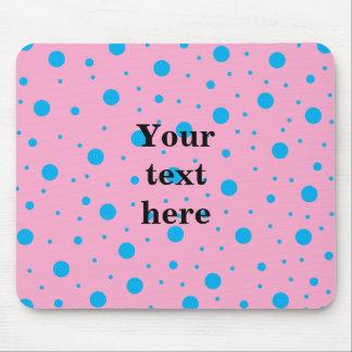 Light pink sky blue tiny and big polka dots mouse pad