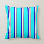 [ Thumbnail: Light Pink, Slate Gray, White, Blue & Cyan Colored Throw Pillow ]