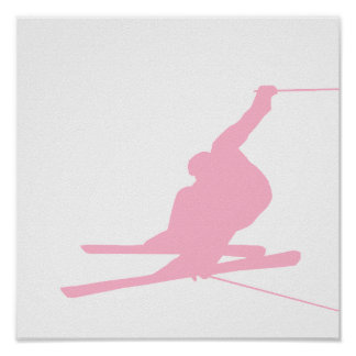 Light Pink Snow Skiing Posters