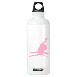 Light Pink Snow Skiing Water Bottle