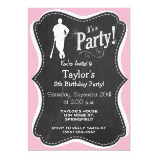 "Light Pink Softball 5"" X 7"" Invitation Card"
