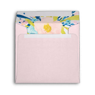 Light Pink Square Envelope with Floral Inset
