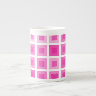Light Pink Squares with a Little Heart Porcelain Mugs