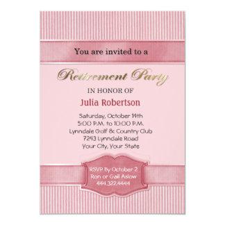Light Pink Stripe Retirement Party Invitations