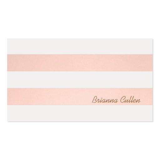 Light pink striped feminine elegant simple business card for Feminine business cards