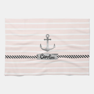 Light Pink Stripes Gray Watercolor Anchor Custom Kitchen Towel