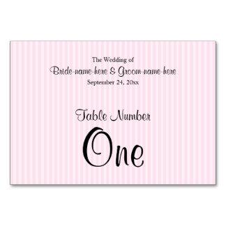 Light Pink Stripes Wedding Table Number