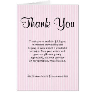 Light Pink Stripes Wedding Thank You Stationery Note Card