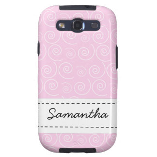 Light Pink Swirl Custom Name Android Phone Case Samsung Galaxy SIII Case