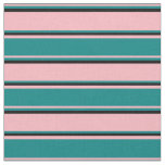 [ Thumbnail: Light Pink, Teal & Black Colored Stripes Fabric ]